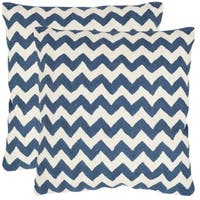 Safavieh Striped Telea Navy Blue 18-inch Square Throw Pillows (Set of 2)