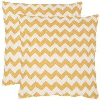 Safavieh Striped Telea Mustard 18-inch Square Throw Pillows (Set of 2)