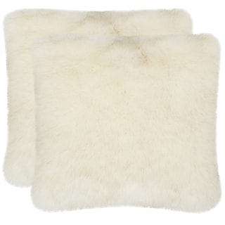 Safavieh Faux Shadow Fox White 20-inch Square Throw Pillows (Set of 2)