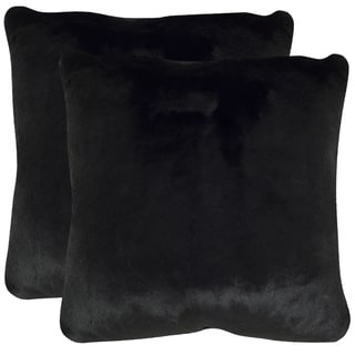 Safavieh Faux Black Mink Onyx 20-inch Square Throw Pillows (Set of 2)