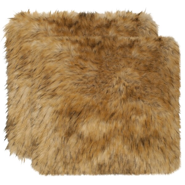 Safavieh Faux Racoon Warm Brown 20-inch Square Throw Pillows (Set of 2)