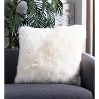 Safavieh Faux White Beaver White 20-inch Square Throw Pillows (Set of 2)