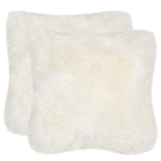 abce367242e05 Safavieh Faux White Beaver White 20-inch Square Throw Pillows (Set of 2)