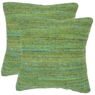 Safavieh Eloise Glorious Green 20-inch Square Throw Pillows (Set of 2)