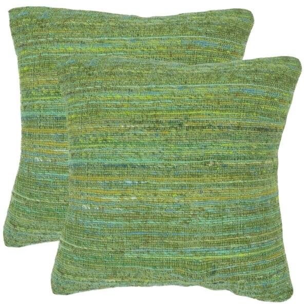 Safavieh Eloise Glorious Green 20-inch Square Throw Pillows (Set of 2)