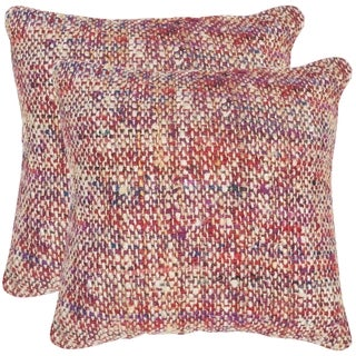 Safavieh Carrie Candy Red 20-inch Square Throw Pillows (Set of 2)