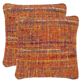 Safavieh Carrie Orange Candy 20-inch Square Throw Pillows (Set of 2)
