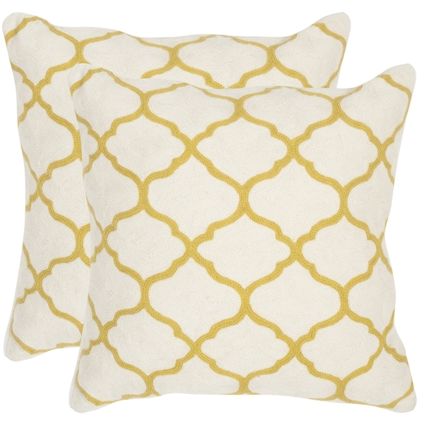 Safavieh Rhea Pear Green 20-inch Square Throw Pillows (Set of 2)