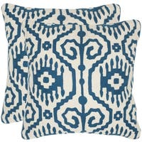 Safavieh Tennes Royal Blue 20-inch Square Throw Pillows (Set of 2)