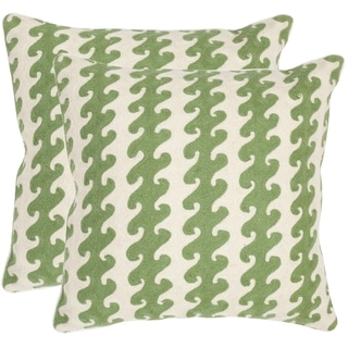 Safavieh Linos Green 20-inch Square Throw Pillows (Set of 2)