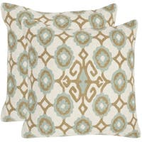 Safavieh Taylor Amist Green 20-inch Square Throw Pillows (Set of 2)