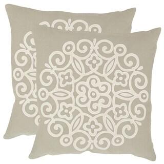Safavieh Joanna Beige 18-inch Square Throw Pillows (Set of 2)