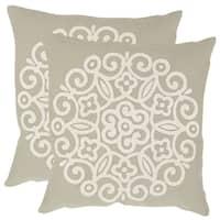 Safavieh Joanna Beige 20-inch Square Throw Pillows (Set of 2)