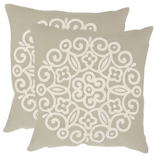 Safavieh Joanna Beige 22-inch Square Throw Pillows (Set of 2)