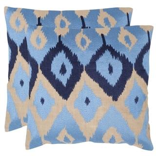 Safavieh Jay Indigo 20-inch Square Throw Pillows (Set of 2)