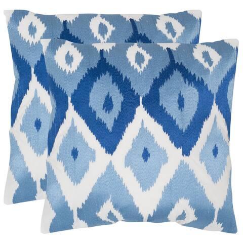Safavieh Lexi Indigo 18-inch Square Throw Pillows (Set of 2)