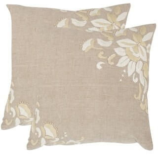 Safavieh Victoria Beige 22-inch Feather Filled Throw Pillows (Set of 2)