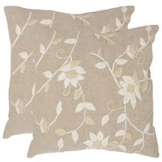 Safavieh Vallie Beige 18-inch Square Throw Pillows (Set of 2)