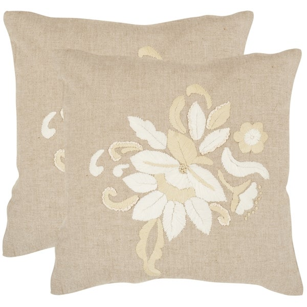 Safavieh June Beige 22-inch Square Throw Pillows (Set of 2)