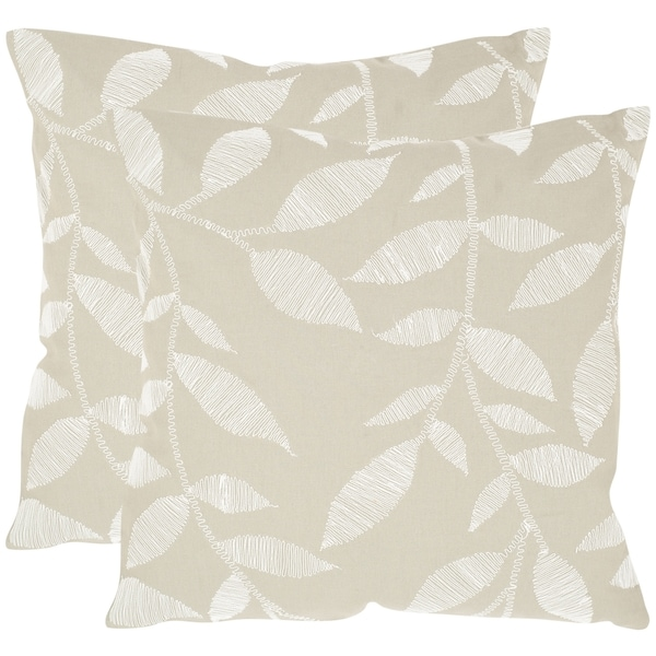 Safavieh May Beige 22-inch Square Throw Pillows (Set of 2)