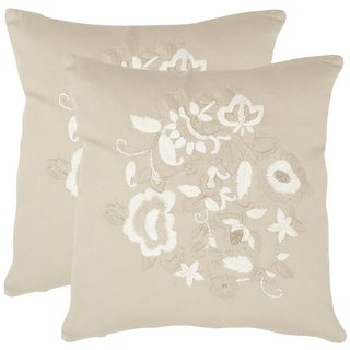Safavieh April Beige 18-inch Square Throw Pillows (Set of 2)