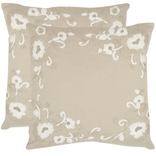 Safavieh Jenny Beige 18-inch Square Throw Pillows (Set of 2)