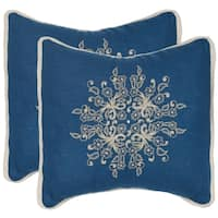 Safavieh Castello Royal Blue 20-inch Square Throw Pillows (Set of 2)