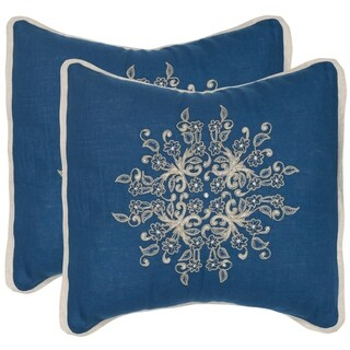 Safavieh Castello Royal Blue 20-inch Square Throw Pillows (Set of 2)