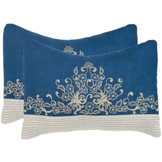Safavieh Elena Royal Blue 12 x 20-inch Throw Pillows (Set of 2)