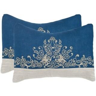 Safavieh Elena Royal Blue 12 x 20-inch Throw Pillows (Set of 2)