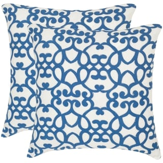Safavieh Mallorca Royal Blue 20-inch Square Throw Pillows (Set of 2)
