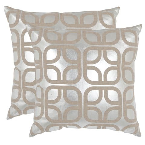 Safavieh Cole Silver 22-inch Square Throw Pillows (Set of 2)