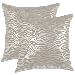 Safavieh Demi Silver 18-inch Square Throw Pillows (Set of 2)