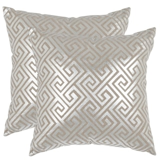 Safavieh Jayden Silver 18-inch Square Throw Pillows (Set of 2)