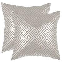 Safavieh Jayden Silver 18-inch Square Throw Pillows (Set of 2)
