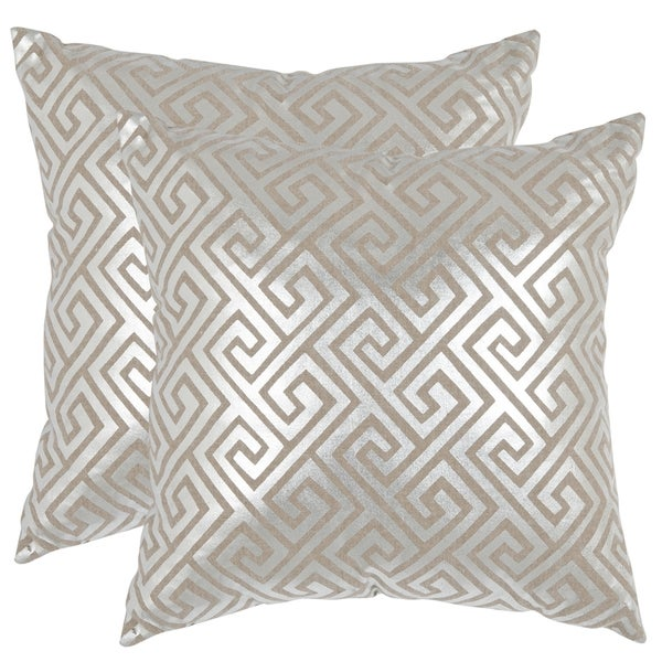 Safavieh Jayden Silver 22-inch Square Throw Pillows (Set of 2)