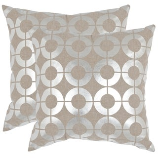 Safavieh Bailey Silver 18-inch Square Throw Pillows (Set of 2)