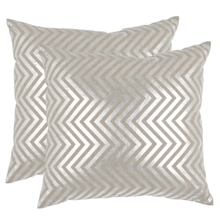Safavieh Elle Silver 22-inch Square Throw Pillows (Set of 2)