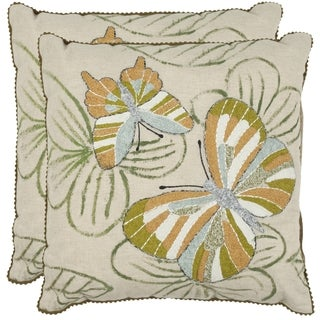 Safavieh Casandra Multi/ Cream 18-inch Square Throw Pillows (Set of 2)