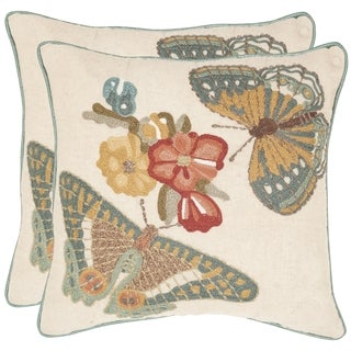 Safavieh Kelsey Multi 18-inch Square Throw Pillows (Set of 2)