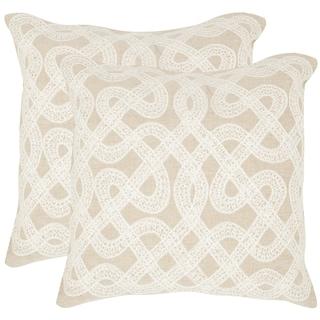 Safavieh Lola Beige 18-inch Square Throw Pillows (Set of 2)