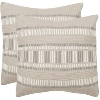 Safavieh Linea Taupe Granite 20-inch Square Throw Pillows (Set of 2)