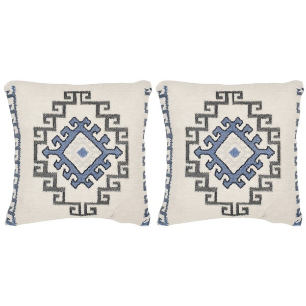 Safavieh Open Sky Arizona Blue 20-inch Square Throw Pillows (Set of 2)