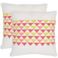 Safavieh Geo Mountain Wild Flower 20-inch Square Throw Pillows (Set of 2)