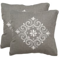 Safavieh Regina Sterling 20-inch Square Throw Pillows (Set of 2)