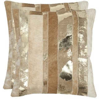 Safavieh Peyton Gold 18-inch Square Throw Pillows (Set of 2)