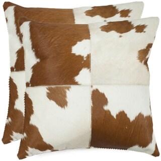 Safavieh Carley Tan/ White 18-inch Square Throw Pillows (Set of 2)