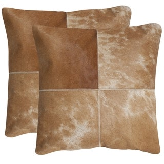 Safavieh Selma Tan 18-inch Square Throw Pillows (Set of 2)