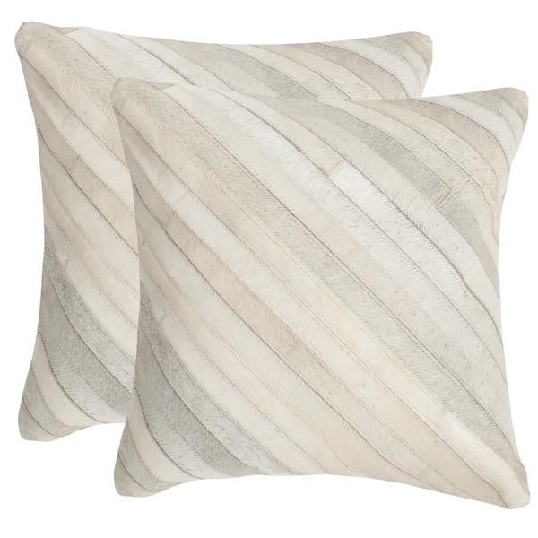 Safavieh Cherilyn White 18-inch Square Throw Pillows (Set of 2)