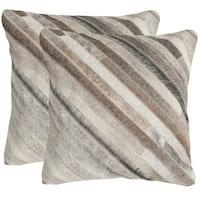 Safavieh Cherilyn Grey 22-inch Square Throw Pillows (Set of 2)